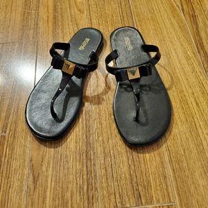 Michael Kors Caroline Black Jelly Flip Flops
